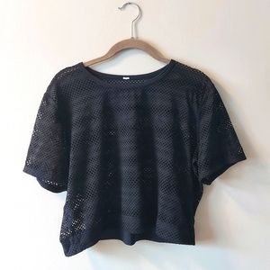 Lululemon Crop Mesh Tee Black